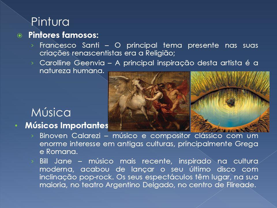 Pintura Pintores famosos: Francesco Santi – O principal tema presente nas suas criações renascentistas era a Religião; Carolline Geenvia – A principal