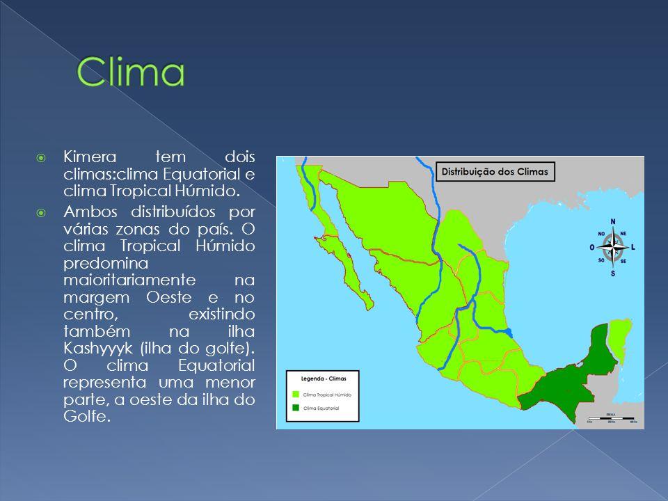 Kimera tem dois climas:clima Equatorial e clima Tropical Húmido. Ambos distribuídos por várias zonas do país. O clima Tropical Húmido predomina maiori