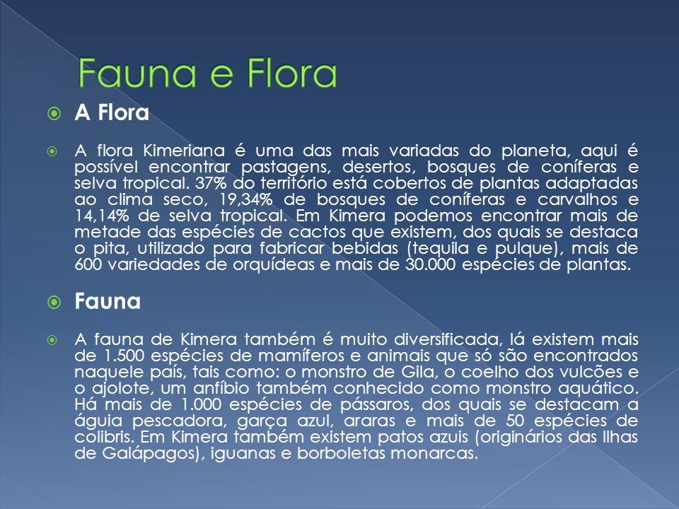 A Flora A flora Kimeriana é uma das mais variadas do planeta, aqui é possível encontrar pastagens, desertos, bosques de coníferas e selva tropical. 37