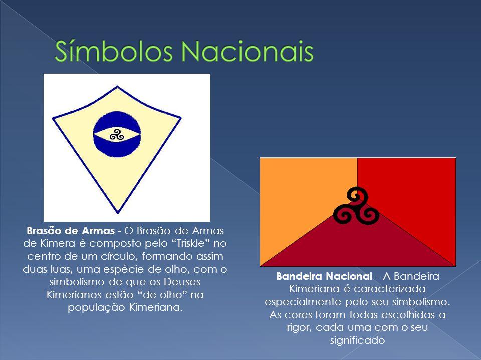 Bandeira Nacional - A Bandeira Kimeriana é caracterizada especialmente pelo seu simbolismo. As cores foram todas escolhidas a rigor, cada uma com o se