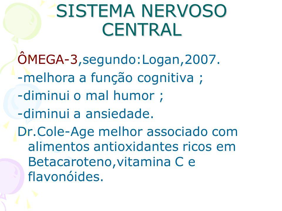 SISTEMA NERVOSO CENTRAL ÔMEGA-3,segundo:Logan,2007. -melhora a função cognitiva ; -diminui o mal humor ; -diminui a ansiedade. Dr.Cole-Age melhor asso