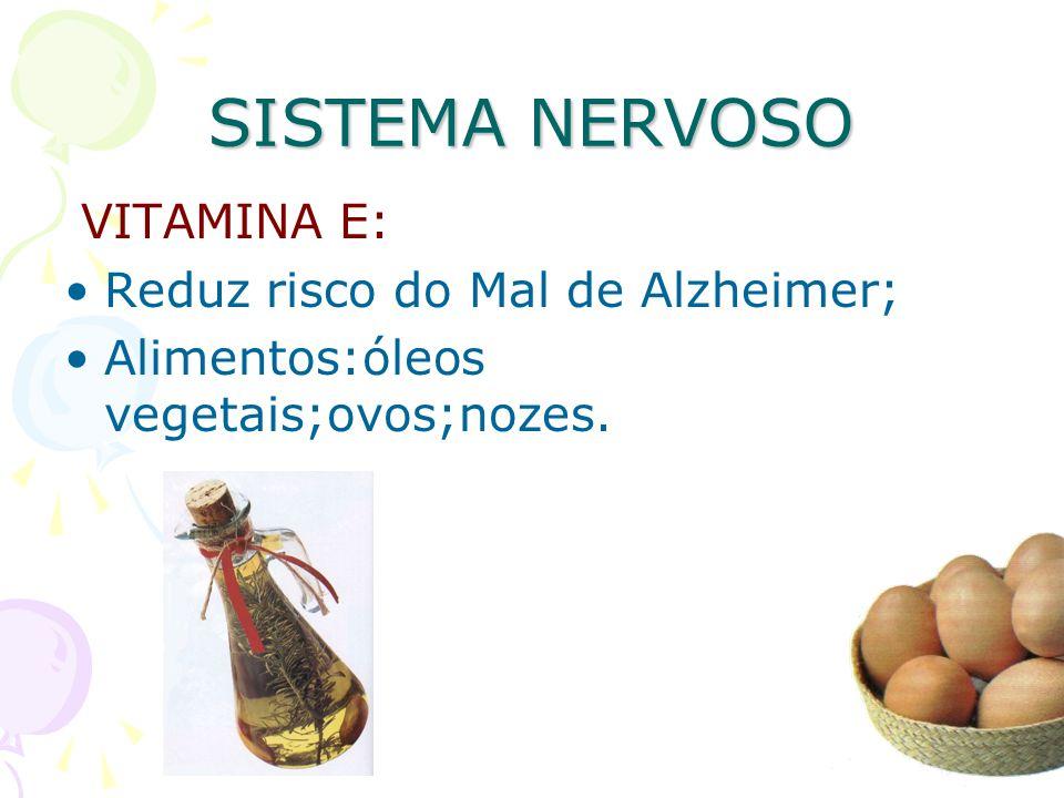 SISTEMA NERVOSO VITAMINA E: Reduz risco do Mal de Alzheimer; Alimentos:óleos vegetais;ovos;nozes.