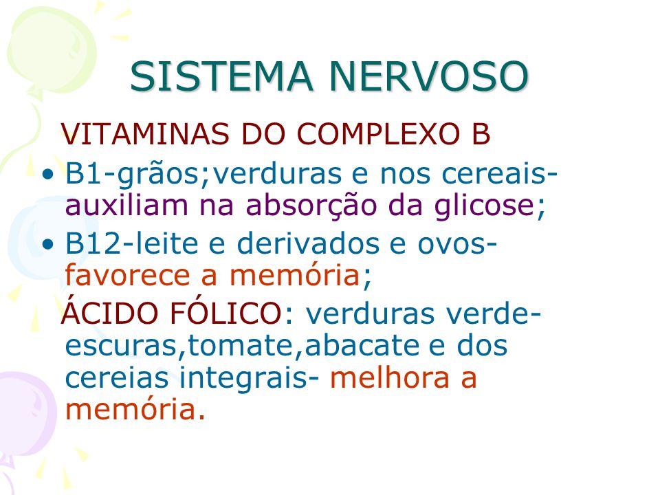SISTEMA NERVOSO VITAMINAS DO COMPLEXO B B1-grãos;verduras e nos cereais- auxiliam na absorção da glicose; B12-leite e derivados e ovos- favorece a mem