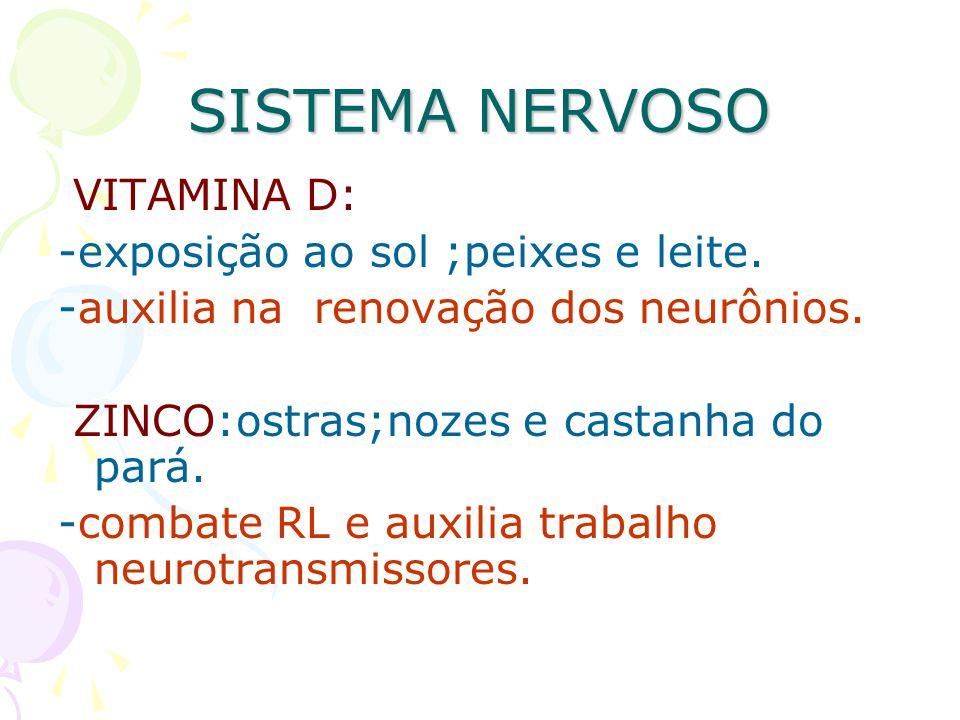 SISTEMA NERVOSO VITAMINA D: -exposição ao sol ;peixes e leite. -auxilia na renovação dos neurônios. ZINCO:ostras;nozes e castanha do pará. -combate RL