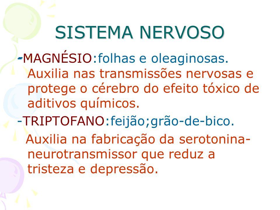 SISTEMA NERVOSO -MAGNÉSIO:folhas e oleaginosas. Auxilia nas transmissões nervosas e protege o cérebro do efeito tóxico de aditivos químicos. -TRIPTOFA