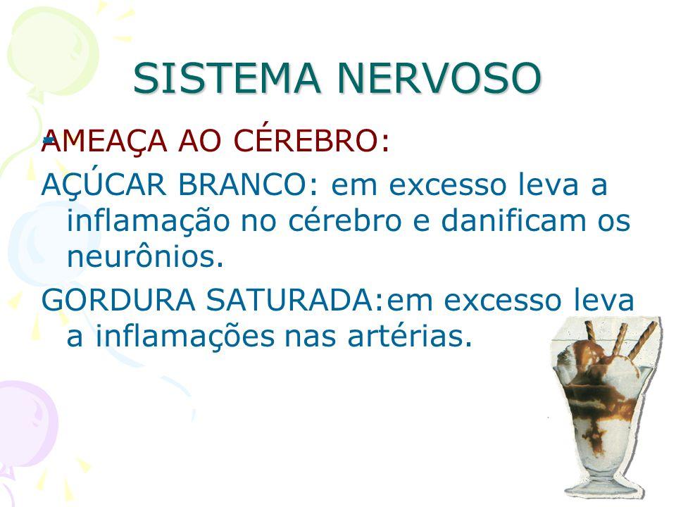 SISTEMA NERVOSO AMEAÇA AO CÉREBRO: AÇÚCAR BRANCO: em excesso leva a inflamação no cérebro e danificam os neurônios. GORDURA SATURADA:em excesso leva a