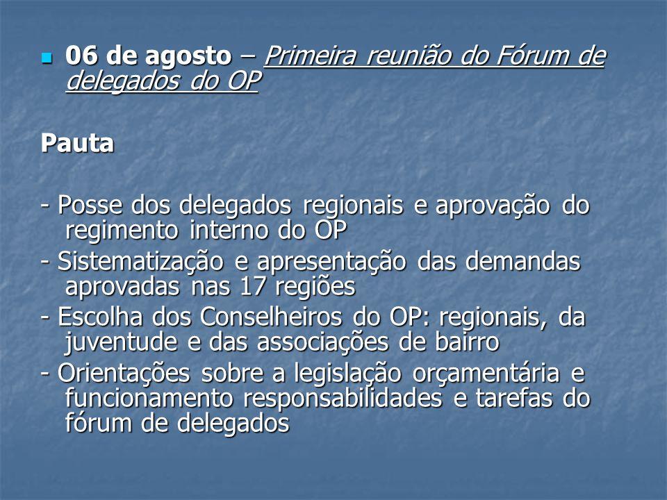 06 de agosto – Primeira reunião do Fórum de delegados do OP 06 de agosto – Primeira reunião do Fórum de delegados do OPPauta - Posse dos delegados reg