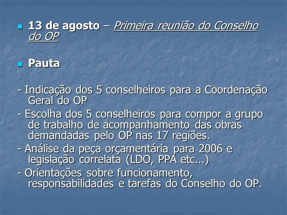 13 de agosto – Primeira reunião do Conselho do OP 13 de agosto – Primeira reunião do Conselho do OP Pauta Pauta - Indicação dos 5 conselheiros para a