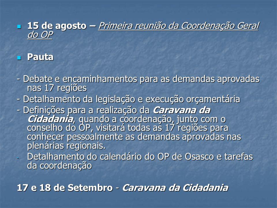 15 de agosto – Primeira reunião da Coordenação Geral do OP 15 de agosto – Primeira reunião da Coordenação Geral do OP Pauta Pauta - Debate e encaminha
