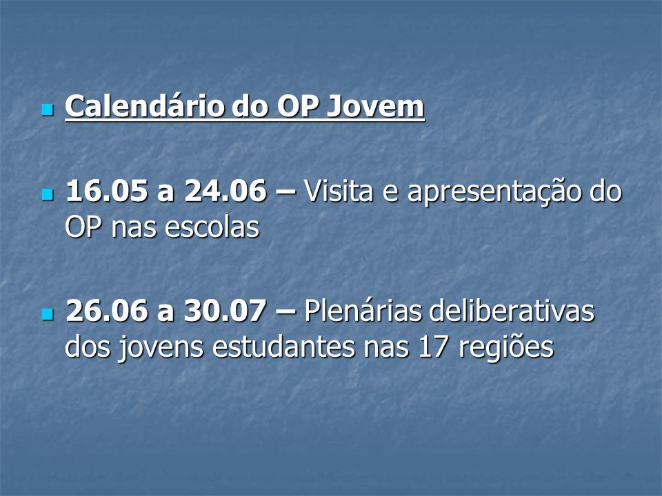 Calendário do OP Jovem Calendário do OP Jovem 16.05 a 24.06 – Visita e apresentação do OP nas escolas 16.05 a 24.06 – Visita e apresentação do OP nas