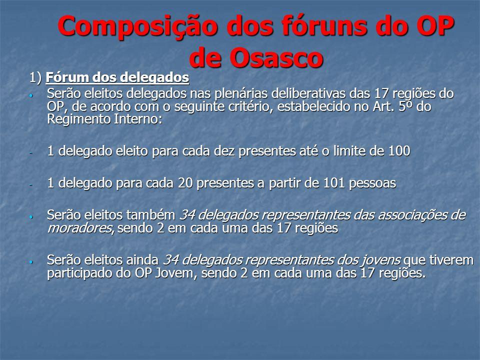 Composição dos fóruns do OP de Osasco 1) Fórum dos delegados Serão eleitos delegados nas plenárias deliberativas das 17 regiões do OP, de acordo com o