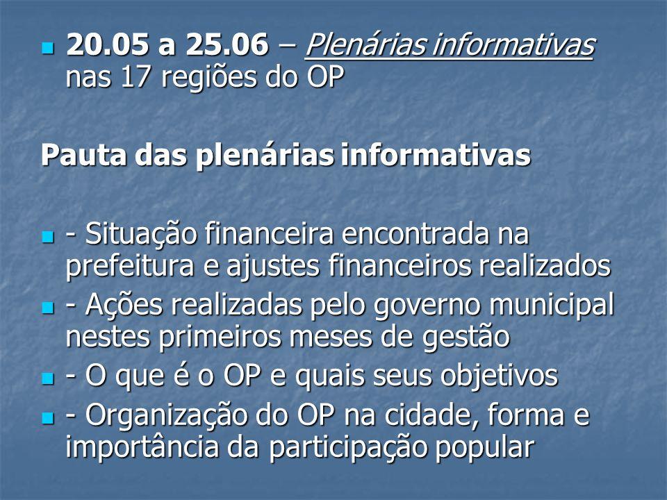20.05 a 25.06 – Plenárias informativas nas 17 regiões do OP 20.05 a 25.06 – Plenárias informativas nas 17 regiões do OP Pauta das plenárias informativ