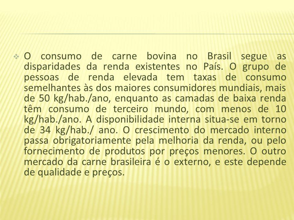 O consumo de carne bovina no Brasil segue as disparidades da renda existentes no País. O grupo de pessoas de renda elevada tem taxas de consumo semelh