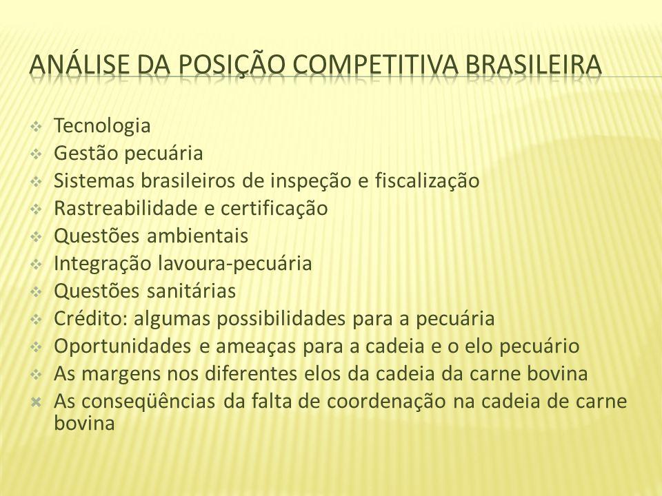 Tecnologia Gestão pecuária Sistemas brasileiros de inspeção e fiscalização Rastreabilidade e certificação Questões ambientais Integração lavoura-pecuá