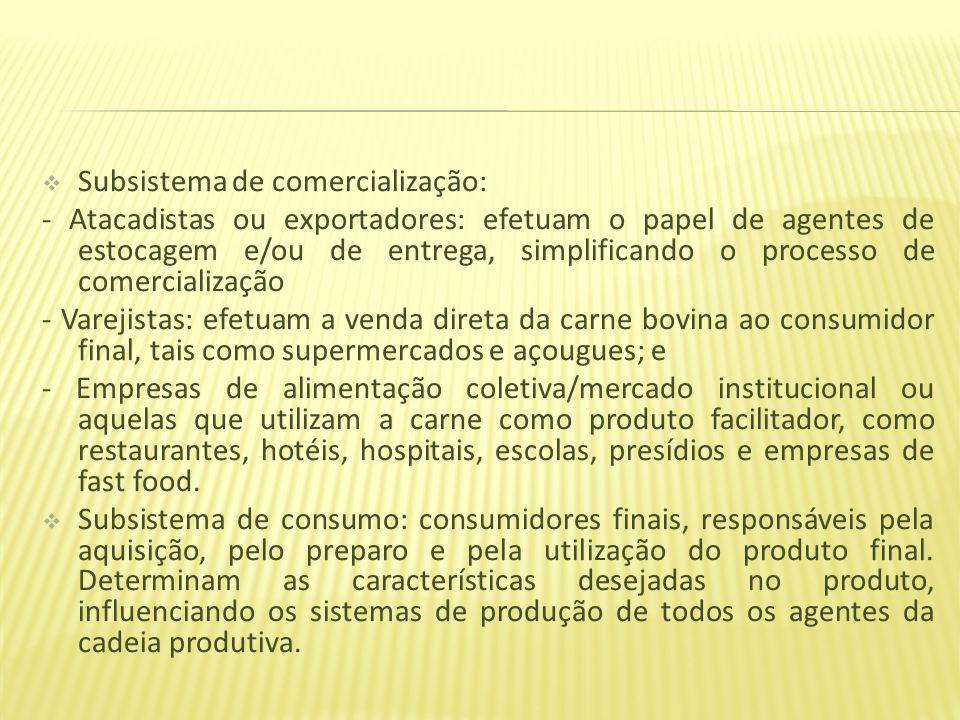 Subsistema de comercialização: - Atacadistas ou exportadores: efetuam o papel de agentes de estocagem e/ou de entrega, simplificando o processo de com