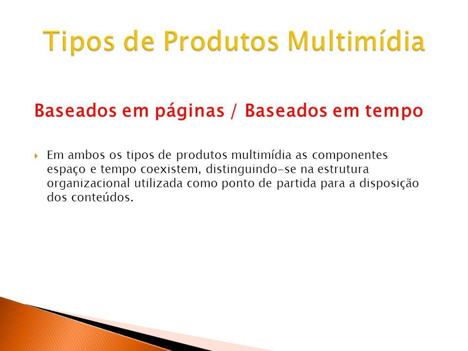 Baseados em páginas / Baseados em tempo Em ambos os tipos de produtos multimídia as componentes espaço e tempo coexistem, distinguindo-se na estrutura organizacional utilizada como ponto de partida para a disposição dos conteúdos.