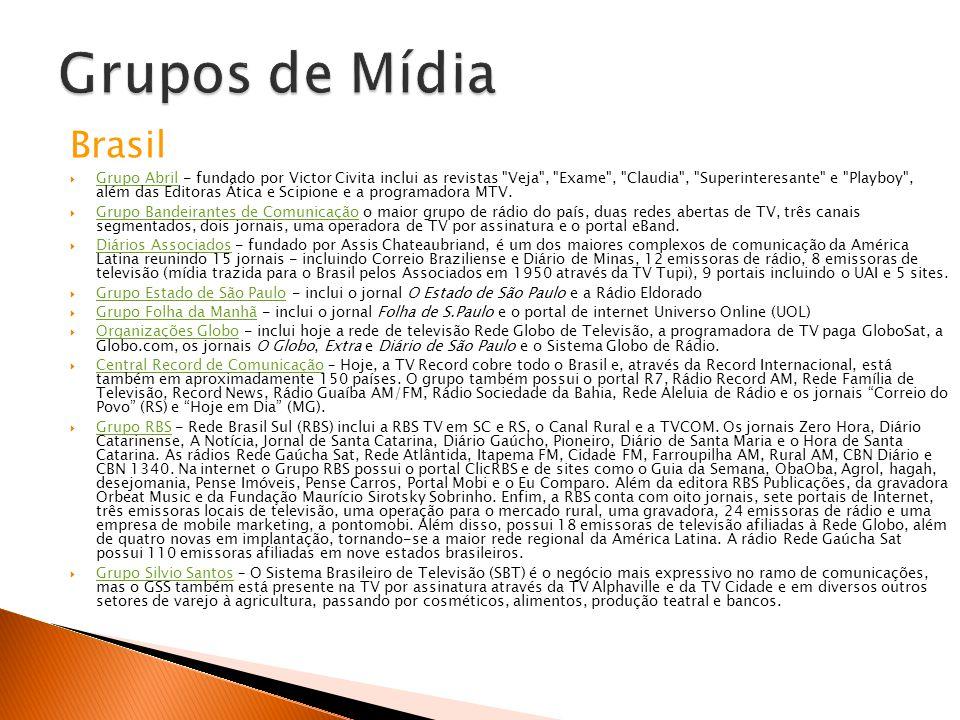 Brasil Grupo Abril - fundado por Victor Civita inclui as revistas Veja , Exame , Claudia , Superinteresante e Playboy , além das Editoras Ática e Scipione e a programadora MTV.