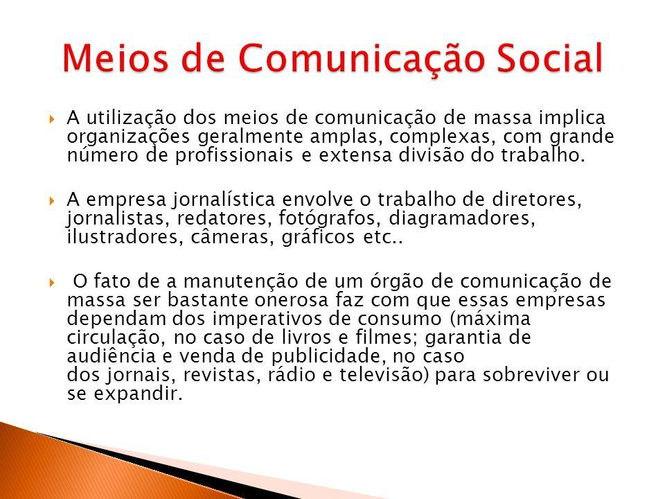 A utilização dos meios de comunicação de massa implica organizações geralmente amplas, complexas, com grande número de profissionais e extensa divisão do trabalho.