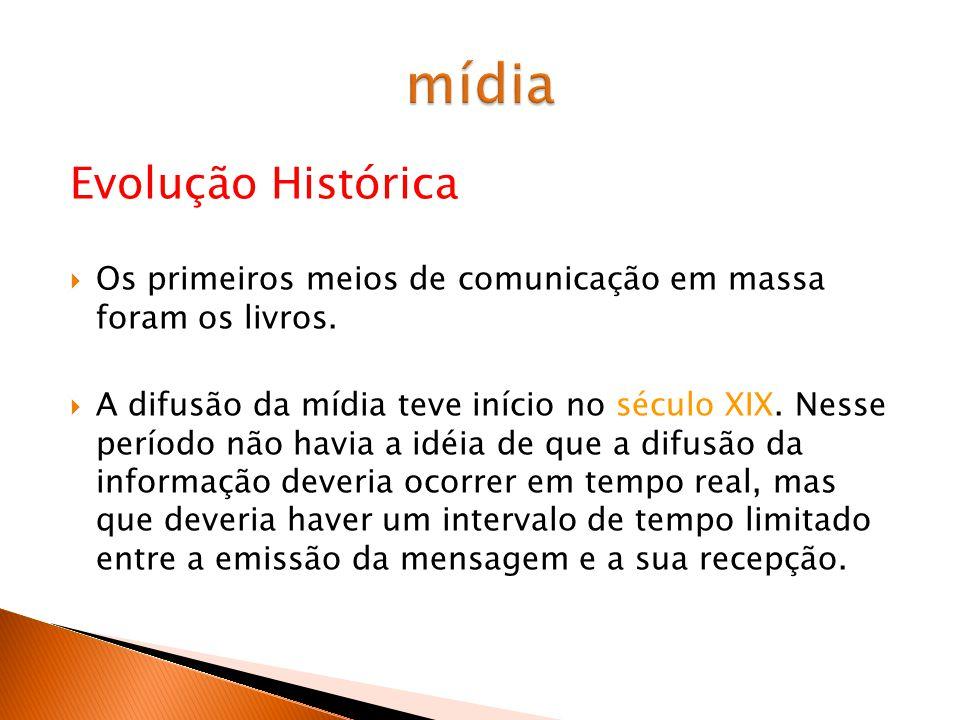 Evolução Histórica Os primeiros meios de comunicação em massa foram os livros.