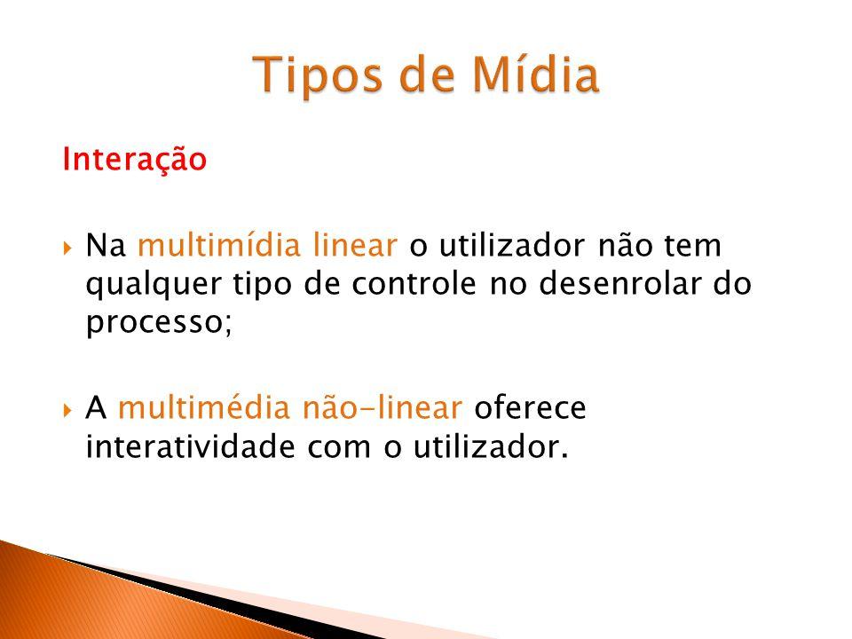 Interação Na multimídia linear o utilizador não tem qualquer tipo de controle no desenrolar do processo; A multimédia não-linear oferece interatividade com o utilizador.