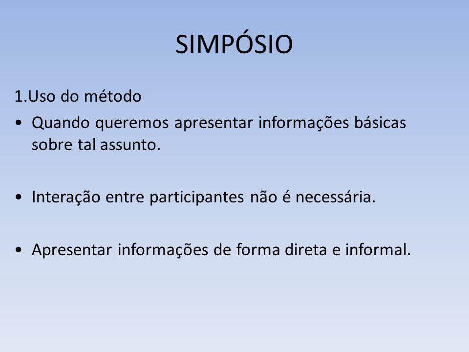 1.Uso do método Quando queremos apresentar informações básicas sobre tal assunto. Interação entre participantes não é necessária. Apresentar informaçõ