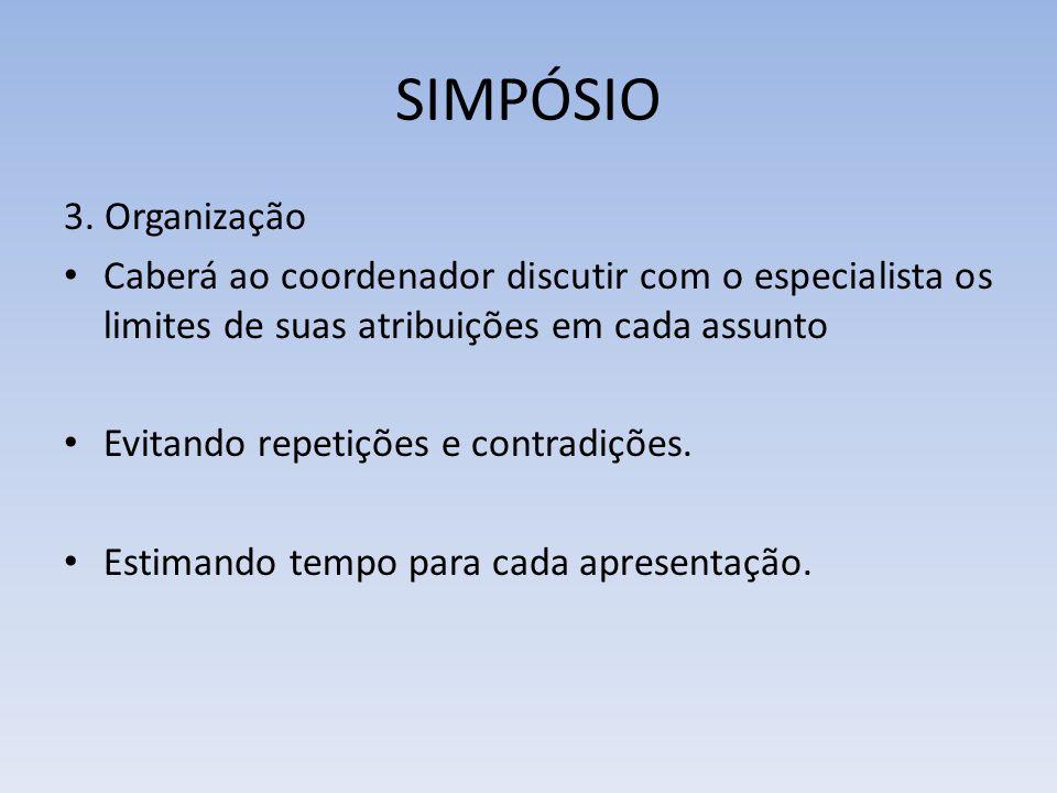 SIMPÓSIO 3. Organização Caberá ao coordenador discutir com o especialista os limites de suas atribuições em cada assunto Evitando repetições e contrad