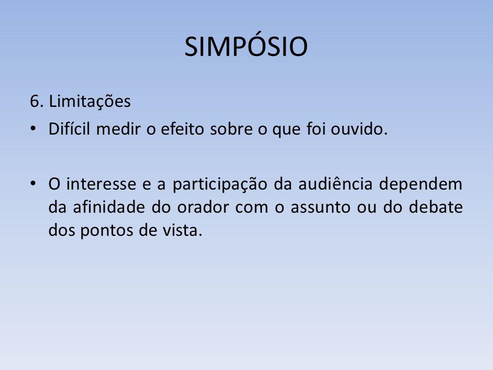 SIMPÓSIO 6. Limitações Difícil medir o efeito sobre o que foi ouvido. O interesse e a participação da audiência dependem da afinidade do orador com o