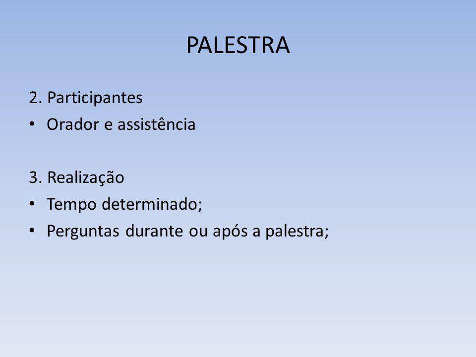 PALESTRA 2. Participantes Orador e assistência 3. Realização Tempo determinado; Perguntas durante ou após a palestra;