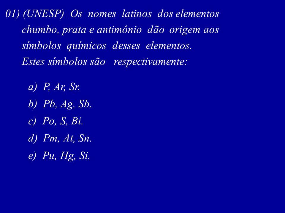 01) (UNESP) Os nomes latinos dos elementos chumbo, prata e antimônio dão origem aos símbolos químicos desses elementos. Estes símbolos são respectivam