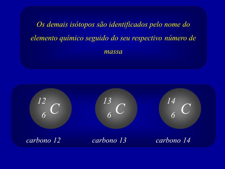 Os demais isótopos são identificados pelo nome do elemento químico seguido do seu respectivo número de massa C 12 6 C 13 6 C 14 6 carbono 12carbono 13
