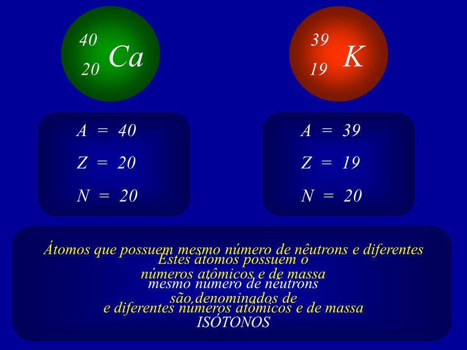 Ca 40 20 K 39 19 Z = 20 A = 40 N = 20 Z = 19 A = 39 N = 20 Estes átomos possuem o mesmo número de nêutrons e diferentes números atômicos e de massa Átomos que possuem mesmo número de nêutrons e diferentes números atômicos e de massa são denominados de ISÓTONOS