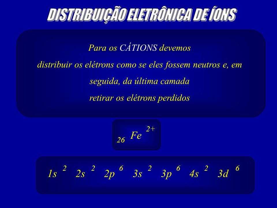 Para os CÁTIONS devemos distribuir os elétrons como se eles fossem neutros e, em seguida, da última camada retirar os elétrons perdidos Fe 2+ 26 1s2s2