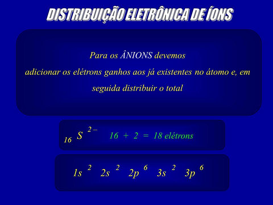 Para os ÂNIONS devemos adicionar os elétrons ganhos aos já existentes no átomo e, em seguida distribuir o total S 2 – 16 16 + 2 = 18 elétrons 1s2s2p3s3p 26226