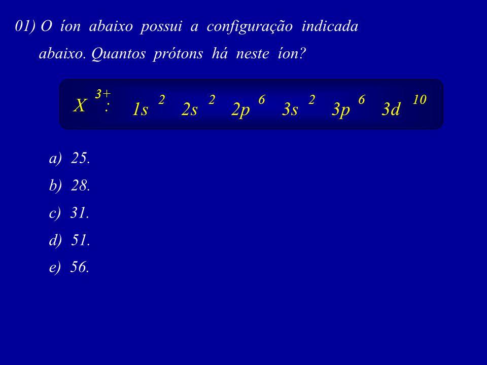 01) O íon abaixo possui a configuração indicada abaixo.