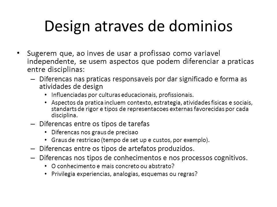 Design atraves de dominios Sugerem que, ao inves de usar a profissao como variavel independente, se usem aspectos que podem diferenciar a praticas ent