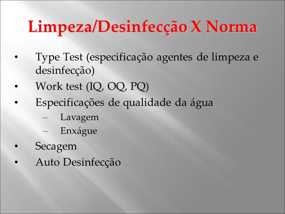 Limpeza/Desinfecção X Norma Type Test (especificação agentes de limpeza e desinfecção) Work test (IQ, OQ, PQ) Especificações de qualidade da água – La