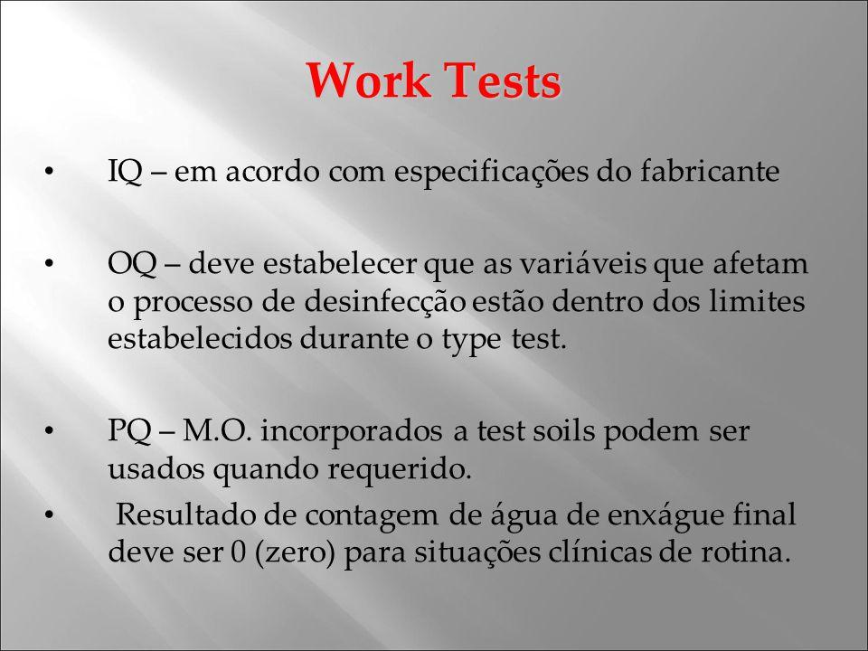 Work Tests IQ – em acordo com especificações do fabricante OQ – deve estabelecer que as variáveis que afetam o processo de desinfecção estão dentro do