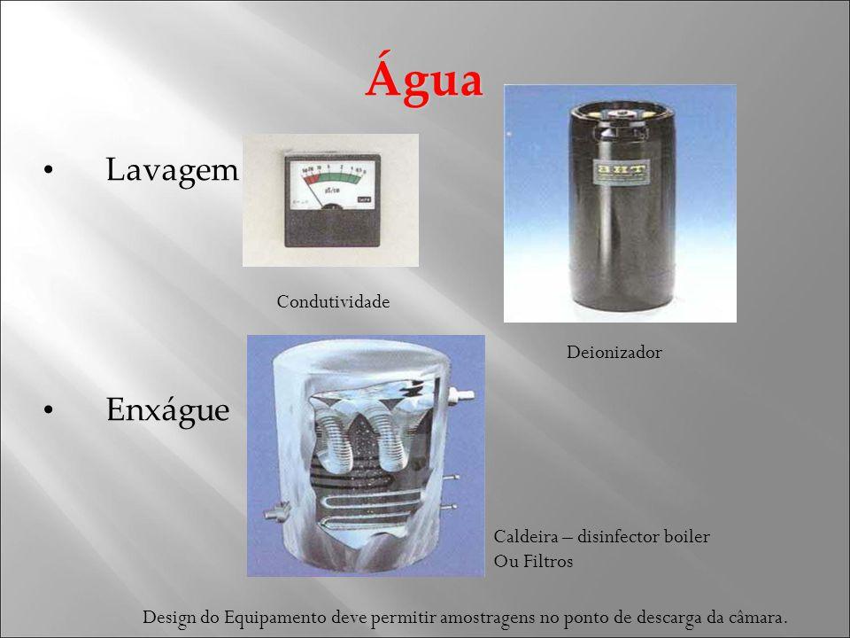 Água Lavagem Enxágue Condutividade Deionizador Caldeira – disinfector boiler Ou Filtros Design do Equipamento deve permitir amostragens no ponto de descarga da câmara.