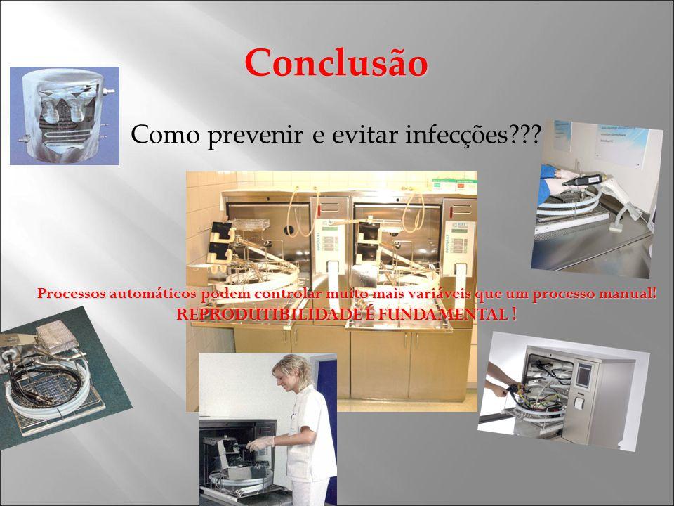 Conclusão Como prevenir e evitar infecções??? Processos automáticos podem controlar muito mais variáveis que um processo manual! REPRODUTIBILIDADE É F