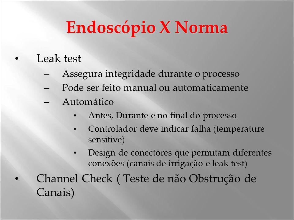 Endoscópio X Norma Leak test – Assegura integridade durante o processo – Pode ser feito manual ou automaticamente – Automático Antes, Durante e no fin