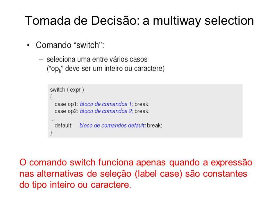 Tomada de Decisão: a multiway selection O comando switch funciona apenas quando a expressão nas alternativas de seleção (label case) são constantes do