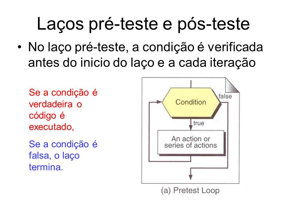 Laços pré-teste e pós-teste No laço pré-teste, a condição é verificada antes do inicio do laço e a cada iteração Se a condição é verdadeira o código é