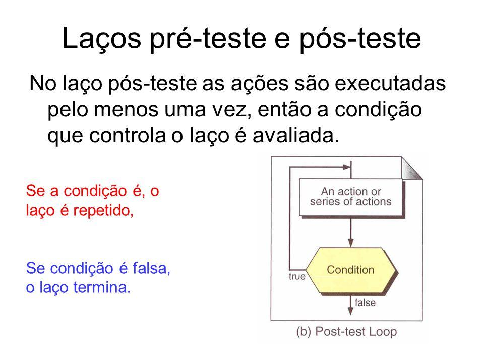 Laços pré-teste e pós-teste No laço pós-teste as ações são executadas pelo menos uma vez, então a condição que controla o laço é avaliada. Se a condiç