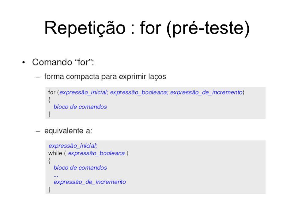 Repetição : for (pré-teste)
