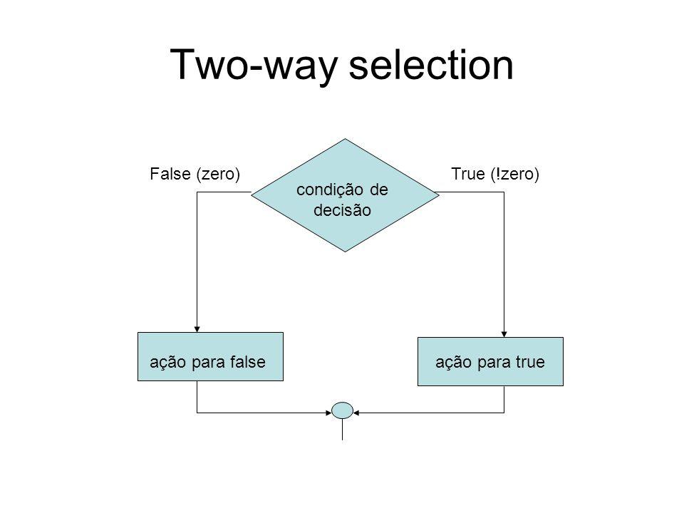Two-way selection condição de decisão ação para falseação para true False (zero)True (!zero)