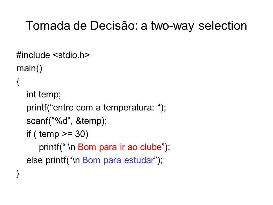 Tomada de Decisão: a two-way selection #include main() { int temp; printf(entre com a temperatura: ); scanf(%d, &temp); if ( temp >= 30) printf( \n Bo