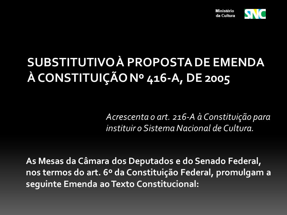 SUBSTITUTIVO À PROPOSTA DE EMENDA À CONSTITUIÇÃO Nº 416-A, DE 2005 Acrescenta o art. 216-A à Constituição para instituir o Sistema Nacional de Cultura