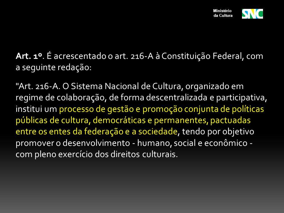 Art.1º. É acrescentado o art. 216-A à Constituição Federal, com a seguinte redação: Art.