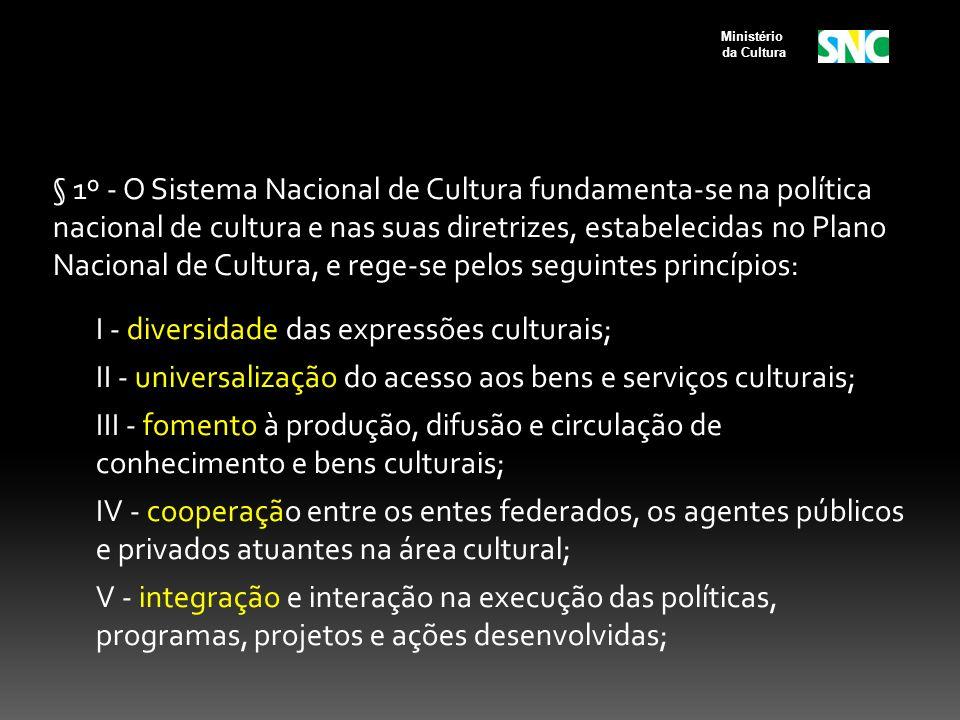 § 1º - O Sistema Nacional de Cultura fundamenta-se na política nacional de cultura e nas suas diretrizes, estabelecidas no Plano Nacional de Cultura,