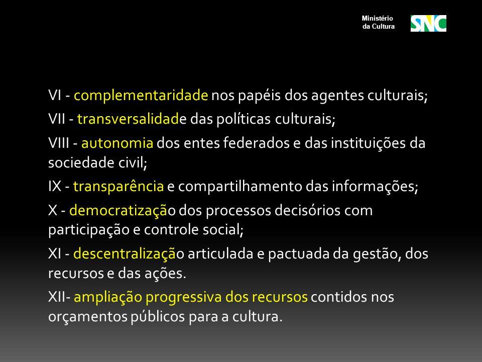 VI - complementaridade nos papéis dos agentes culturais; VII - transversalidade das políticas culturais; VIII - autonomia dos entes federados e das instituições da sociedade civil; IX - transparência e compartilhamento das informações; X - democratização dos processos decisórios com participação e controle social; XI - descentralização articulada e pactuada da gestão, dos recursos e das ações.
